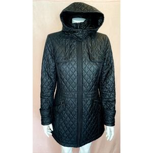 TUMI Black Quilted Puffer Parka Jacket